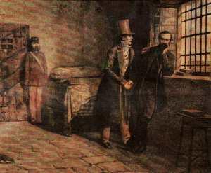Giuseppe Mazzini in prigione a Savona riceve la visita del padre