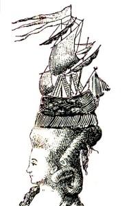 El peinado con el velero en la cabeza con la que María Antonieta se presentó en una bola de tenis