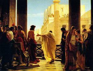 & Quot; Aqui a & quot;, pintura por Antonio Ciseri onde Pôncio Pilatos diante da multidão Jesus flagelado
