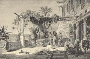 Tiberio in Capri (French engraving). It seems the Emperor, in his frequent orgies, He drew inspiration from a collection of erotic paintings that held in the private rooms
