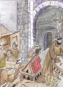 Cucina di un convento medievale. Nelle mense medievali venivano spesso servite ai pellegrini delle zuppe molto caloriche, tra cui la Bazzoffia