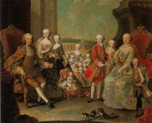 Maria Teresa da Áustria, rodeado por sua grande família. As camas pequenas é Maria Antonietta, que encheria as reprimendas durante a adolescência