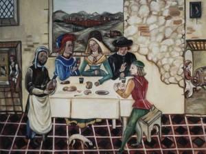 Un banchetto medievale. Alcune norme del galateo di allora, appaiono oggi davvero divertenti