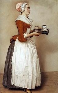 La ragazza con la cioccolata (da un dipinto del '700). Maria Antonietta d'Austria, poco prima di essere ghigliottinata il 16 Ottobre 1793, chiese ed ottenne un'ultima tazza di cioccolata calda