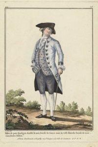 Ejemplo de prendas de vestir de un noble francés del siglo XVIII