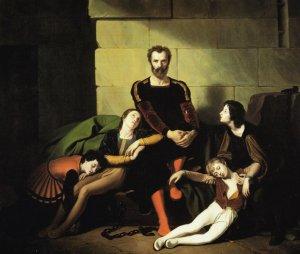 Der Graf Ugolino im Gefängnis. neunzehnten Jahrhunderts Gemälde von Giuseppe Diotti