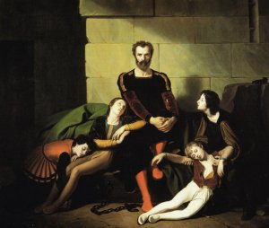 The Count Ugolino in prison. nineteenth-century painting by Giuseppe Diotti