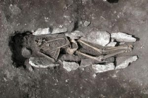 The human remains of the young man found on Mount Lykaion, in Greece