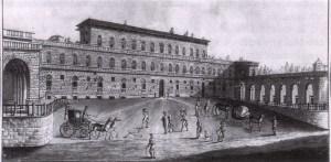 visão do século XIX de Palazzo Pitti, em Florença
