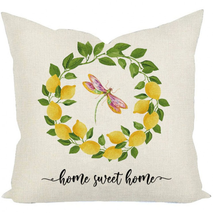 home sweet home lemon wreath dragon fly summer inspired decorative throw pillow