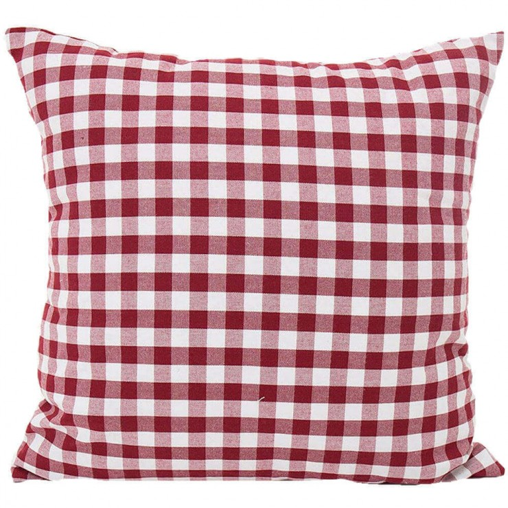 gingham plaid small check red and white double sided reversible decorative throw pillow