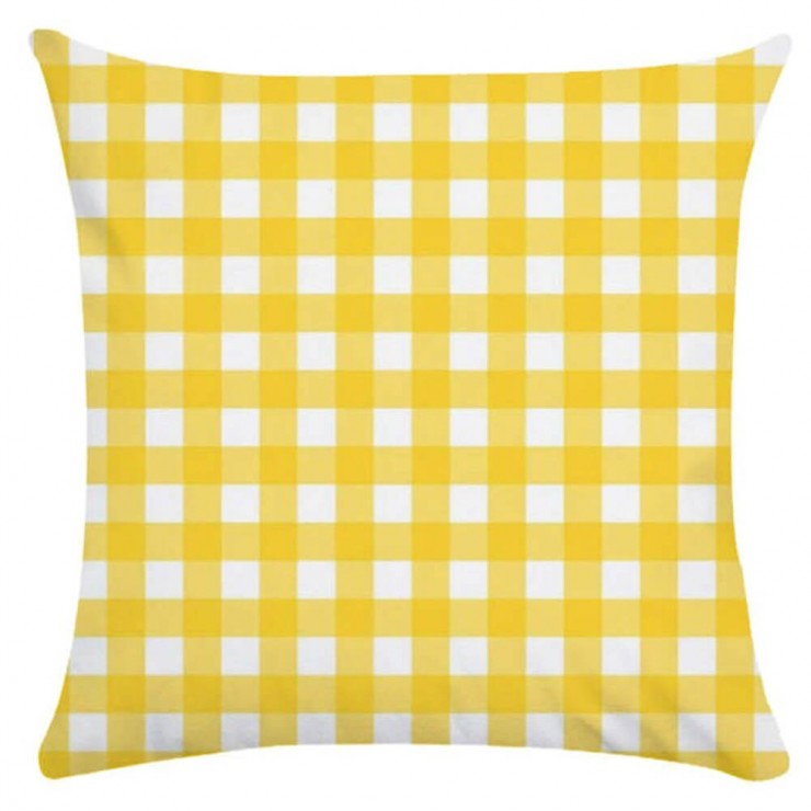 gingham plaid small check yellow and white decorative throw pillow