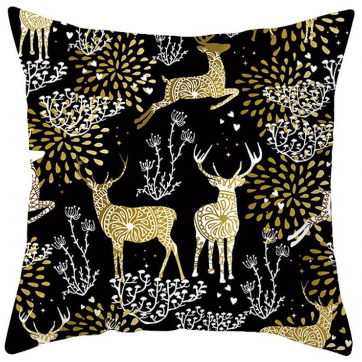 christmas gold and white ornate reindeer on black decorative throw pillow