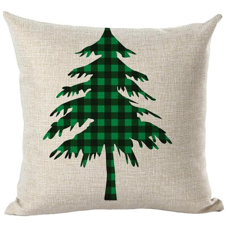 country farmhouse green and black buffalo check plaid christmas tree decorative throw pillow