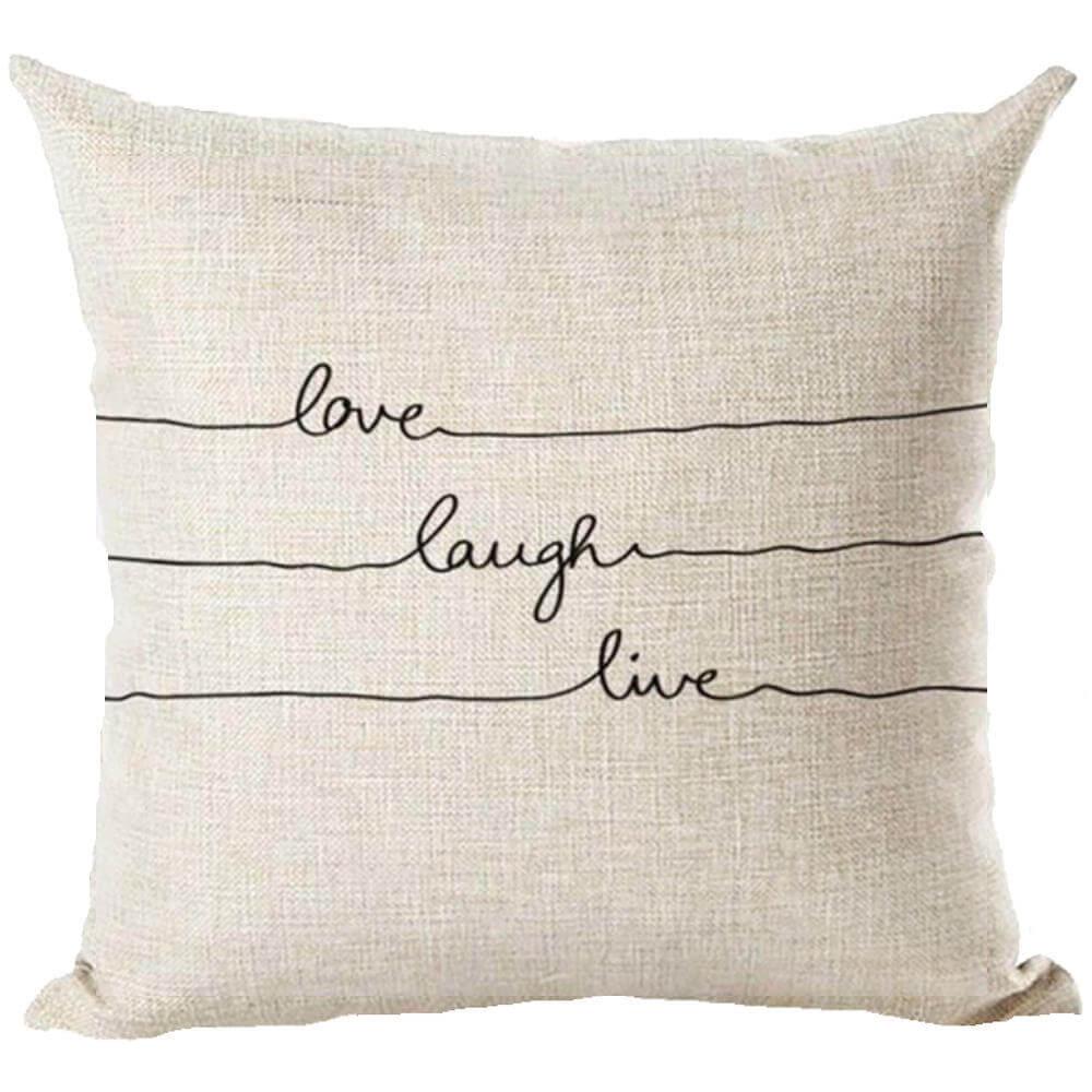 live laugh love typography decorative throw pillow