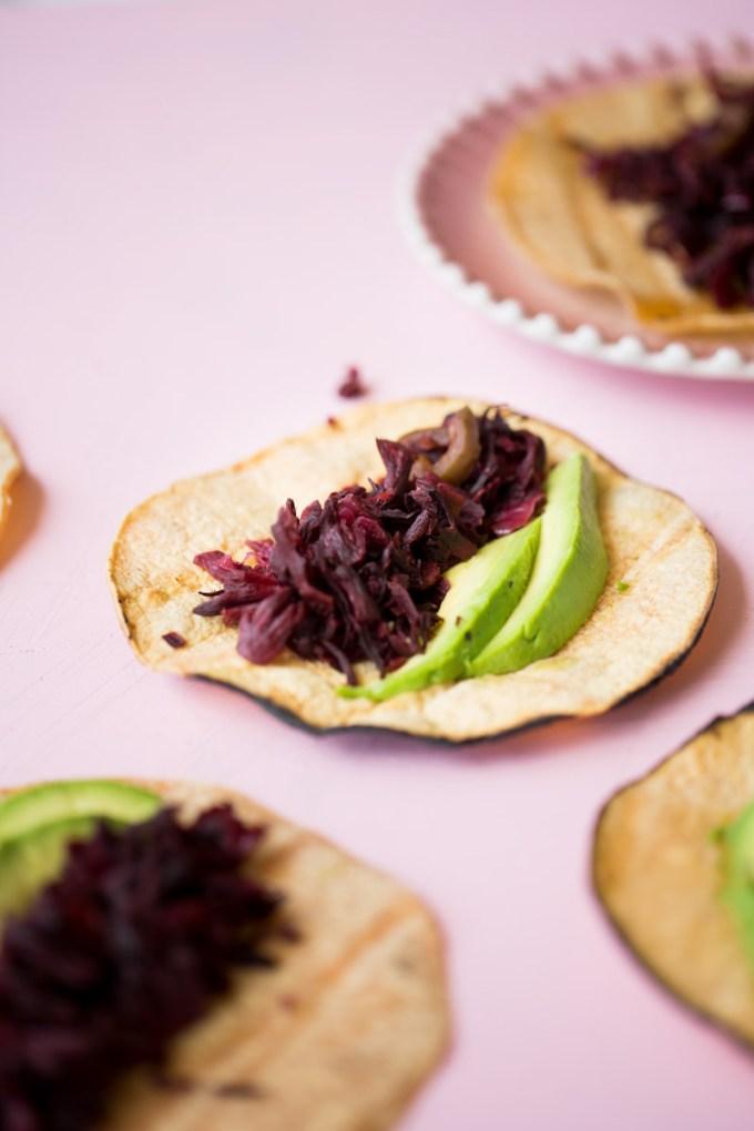 Hibiscus tacos.
