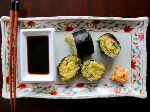 Sushi de quinoa con corazones de palmito y chipotle