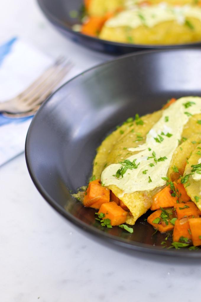 Enchiladas de camote y salsa verde (9)
