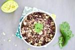 Ensalada de quinoa mexicana hominy y frijol negro.P&V.#vegan