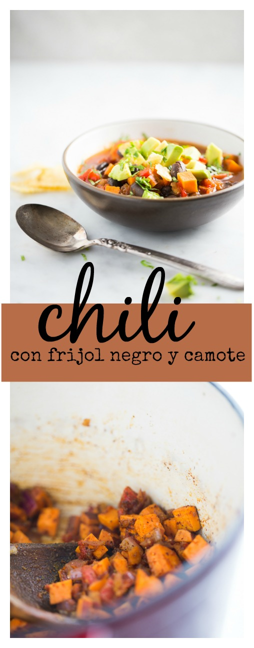 Perfecta comida para hacer en 15 minutos. Chili de frijol negro y camote. Vegan, blach bean and sweet potato chili.