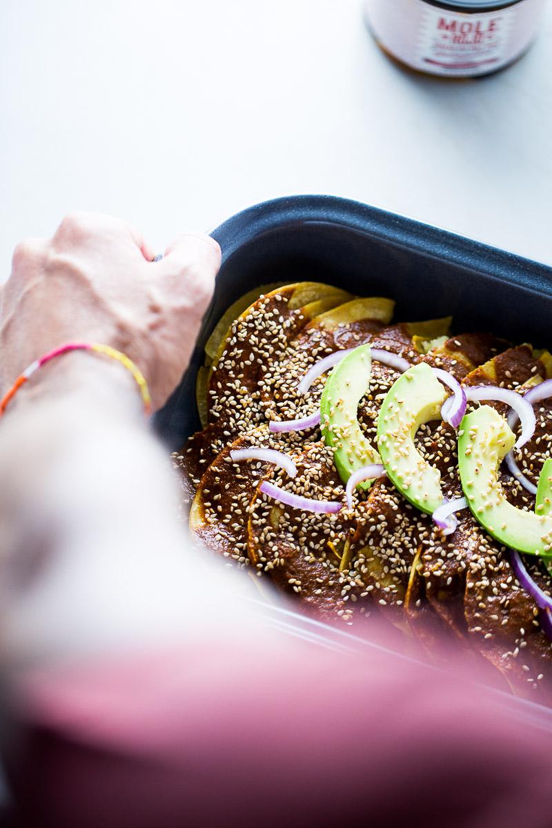The best recipe for vegan mole enchiladas.