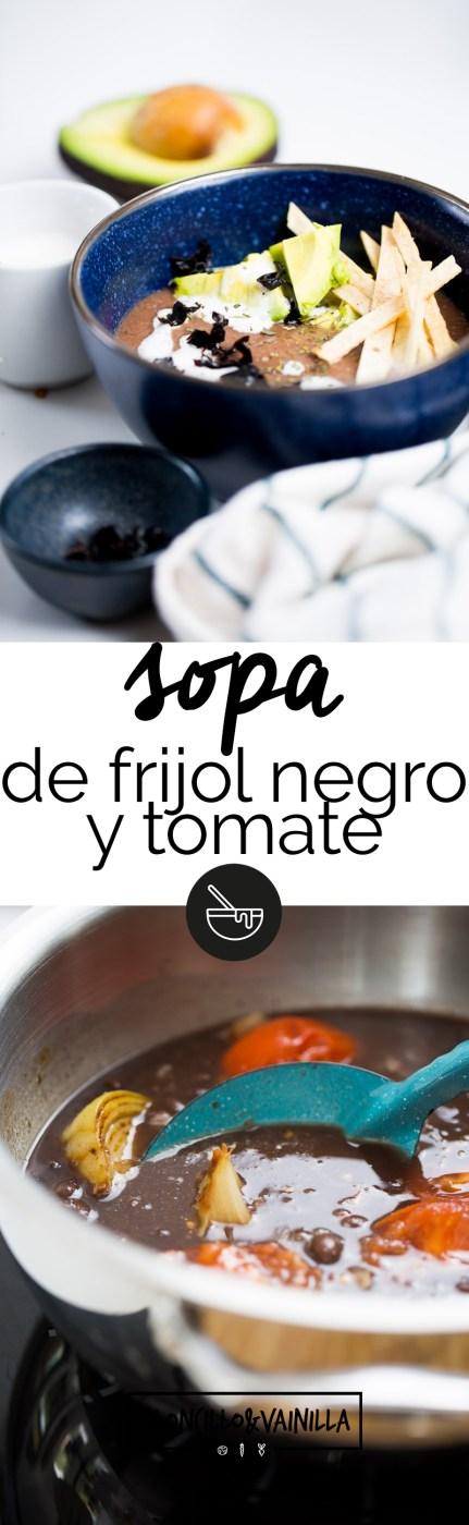 sopa de frijol y tomate