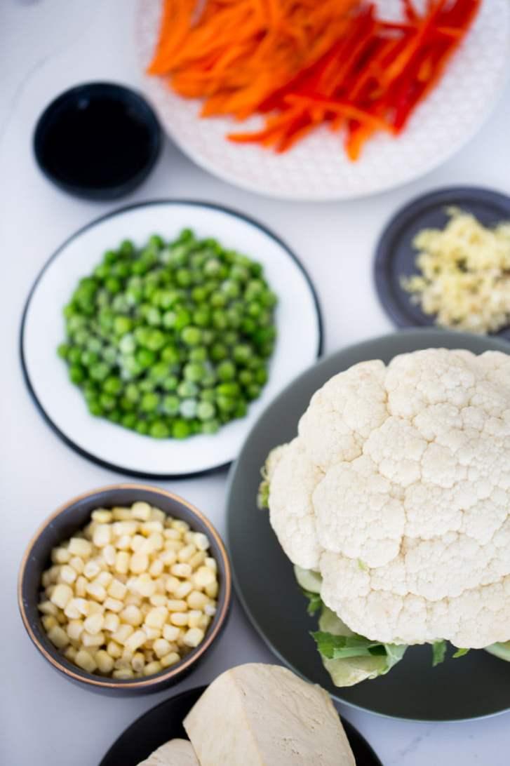 platos con diferentes verduras