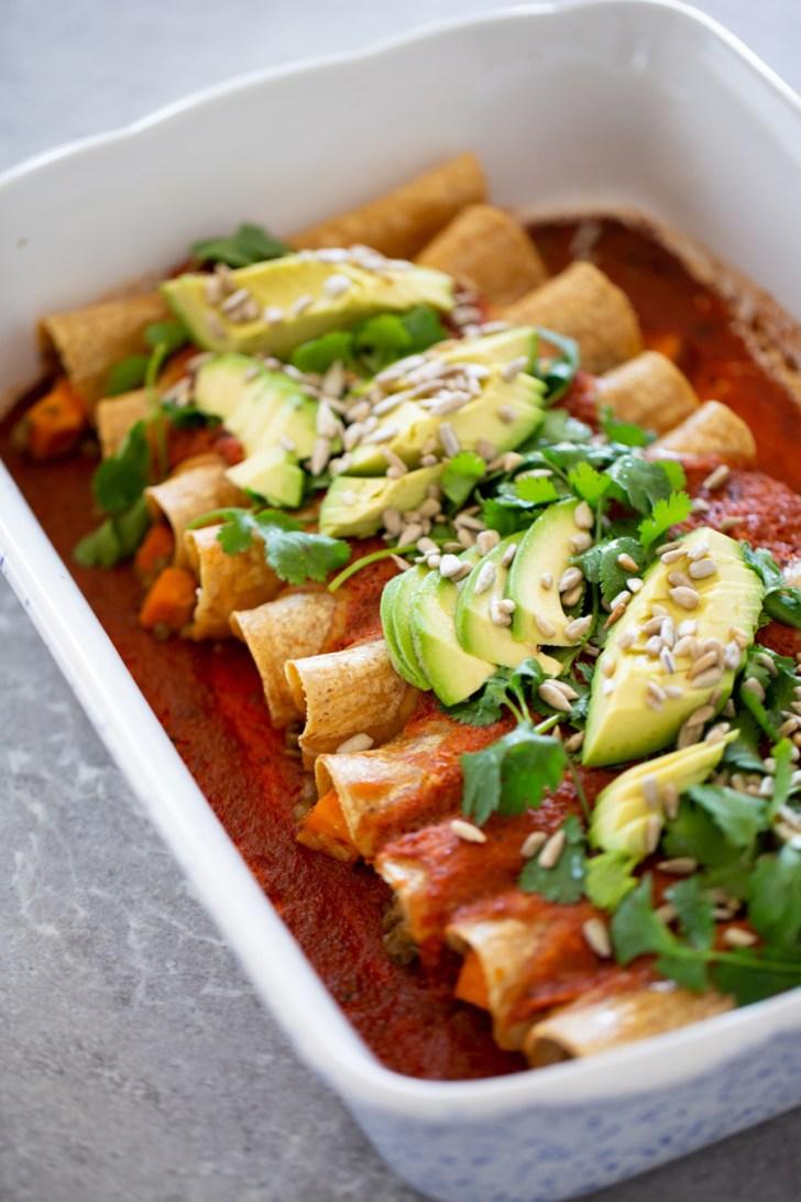vegan enchiladas with lentils