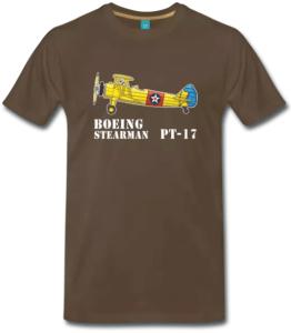 T-Shirt braun mit Boeing Stearman