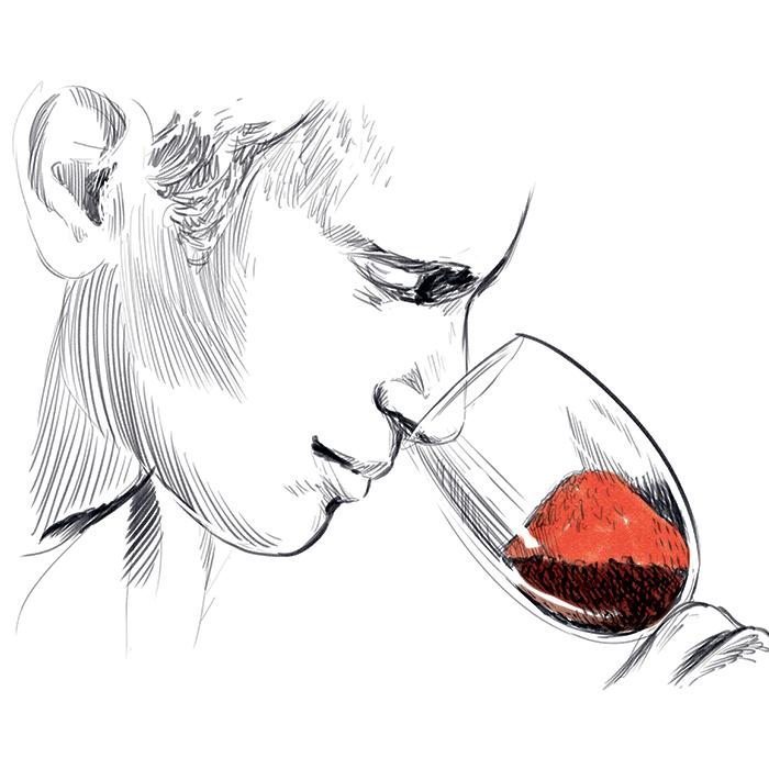 Dessin d'un homme sentant un verre rempli de Piment d'Espelette