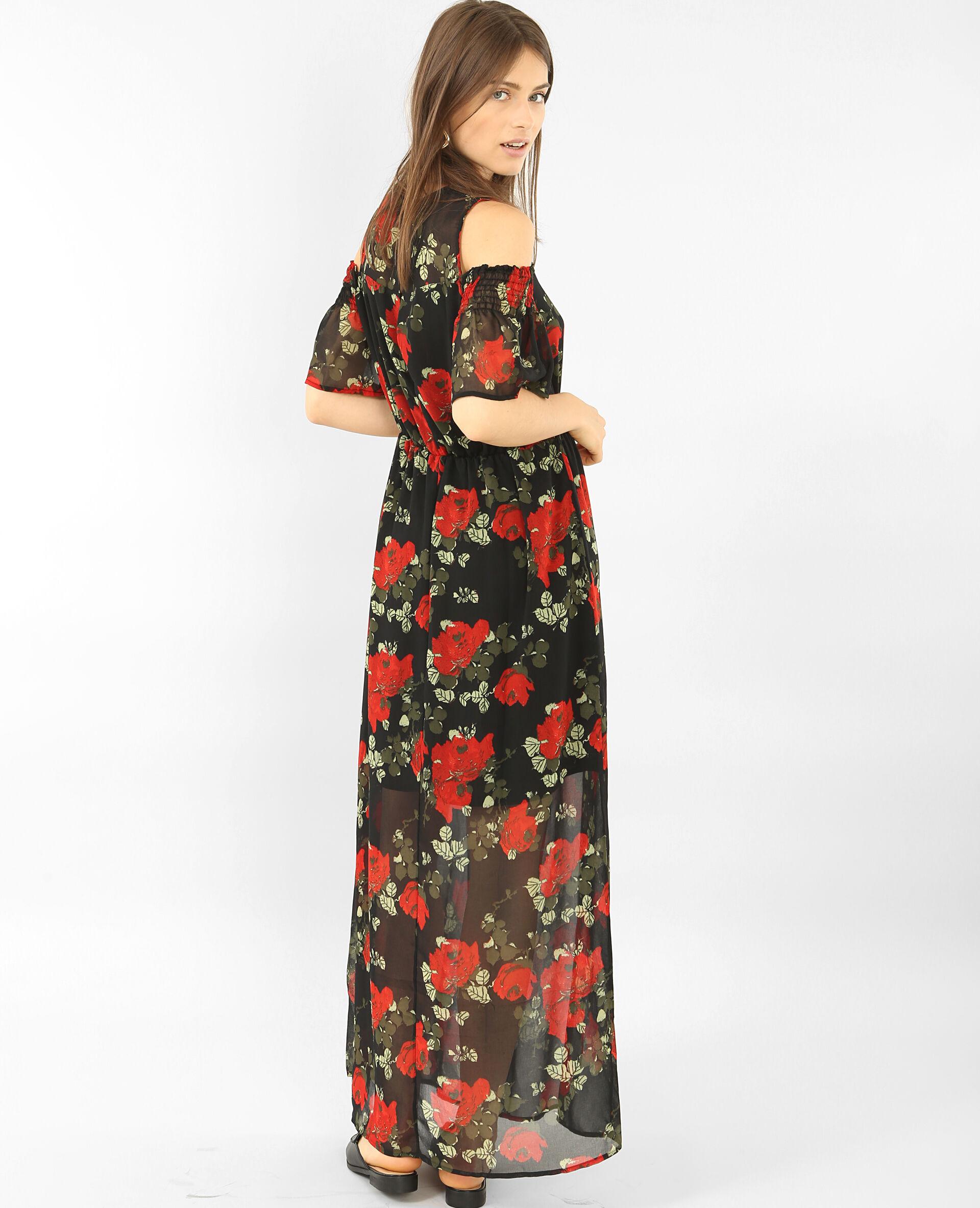 Robe longue en voile imprimée Noir