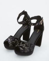 Sandales à plateforme brodées noir