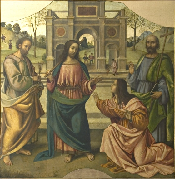 "Giovanni Battista Bertucci Sr., ""Noli me tangere"" with Saints Peter and Andrew"