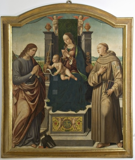 Madonna with Child, two Angels, and Saints John the Evangelist and Anthony of Padua