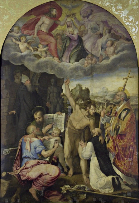 Dispute on the coronation of the Madonna, with Saints Benedict, John, and Matthew the Evangelist, John the Baptist, Pope Celestine and the commissioner
