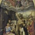 Jacopone Bertucci, Disputa sull'incoronazione della Madonna, con i SS. Benedetto, Giovanni e Matteo Evangelisti, Giovanni Battista, Celestino Papa e il committente