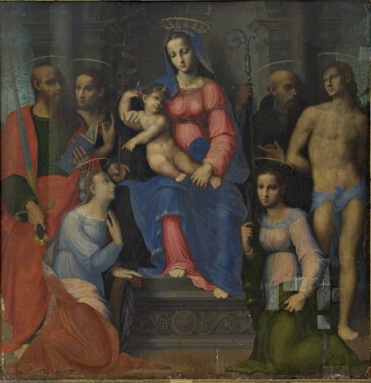 Madonna with Child and Saints Paul, John the Baptist, Benedict (?), Sebastian, Catherine, and Apollonia
