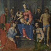 Sigismondo Foschi (documentato dal 1520 al 1532), Madonna con il Bambino e i Santi Paolo, Giovanni Battista, Benedetto (?), Sebastiano, Caterina e Apollonia