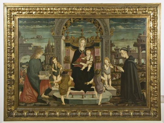 Master of the Bertoni Altar Piece, Virgin with Child, putti playing musical instruments, St. John the Evangelist and the Blessed Giacomo Filippo Bertoni