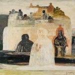Salvatore Fiume, Dal ciclo città di statue, 1963 (?), Olio su tela, 64x64, Firmato in basso a destra
