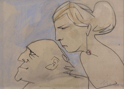"""Mino Maccari, [Coppia di profilo] Carboncino e pastello su cartone, 35x48 Firmato in basso a sinistra: """"Maccari"""""""