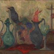 Mario Mafai (Roma, 1902 - 1965), Natura morta con caraffe e diavoletto