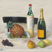 Alberto Salietti (Ravenna, 1892 - Chiavari, 1961), Natura morta con l'ananas