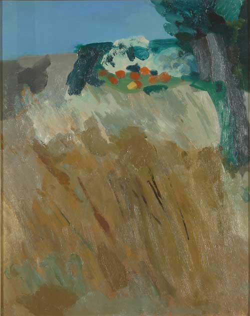 """Ernesto Treccani, Cielo e grano, 1962 Olio su tela, 50x40 Firmato sul retro """"Ernesto Treccani"""""""