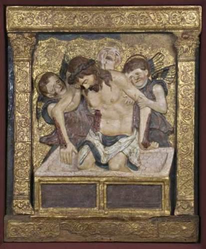 Ambito di Bartolomeo Bellano (?), Cristo in pietà e angeli