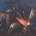Recco Giuseppe, Natura morta con seppia, pesci, aragosta e cesto di ostriche