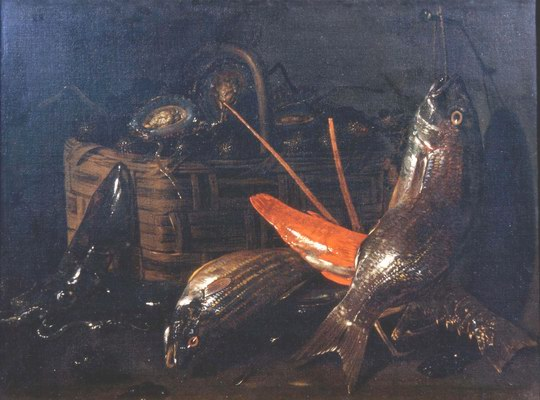 Giuseppe Recco , Still Life with cuttlefish, fish, lobster, and a basket of oysters