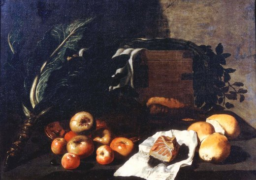 Ruoppolo Giovanni Battista, Still Life with vegetables, fruit, bread, and a strip of tuna
