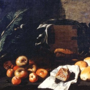 Giovanni Battista Ruoppolo (Napoli, 1629 - 1693), Natura morta di ortaggi, frutta, pani e trancio di tonno