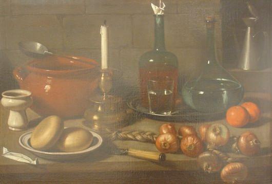 Magini Carlo, Still Life: bread, onions, candlestick, bottle